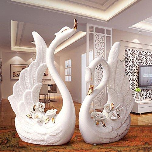 Wohnzimmer Schrank Keramik Handwerk platziert Gold Schwan