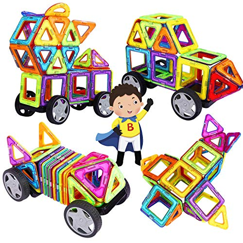 INTEY Magnetische Bausteine XXXL 32 DIY Kreative 3D Bausteine Magnetische Konstruktionsbausteine Haus Turm Auto mit Räder Geschenk für Kleinkind (Ideenheft und Aufbewahrungs Tasche)