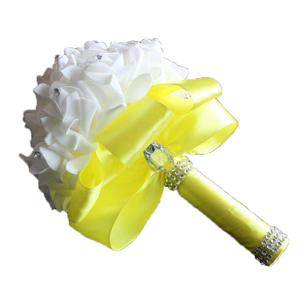 Cosanter – Ramo de flores para decoración de boda, para novia, con rosas artificiales, hecho a mano, Amarillo limón…