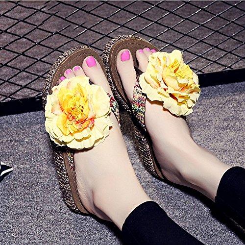 4.5cm Chaussons épluchés d'été Pantoufles de plage à perles faites à la main Simples pantoufles antidérapantes avec 12 sortes de couleurs ( Couleur : #5 , taille : EU36/UK4/CN36 ) #9