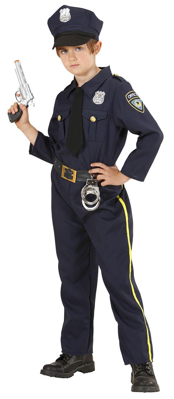 Widmann 76556 - Kinder Kostüm Polizist, Hemd mit Schlips, Hose und Mütze, Größe 128