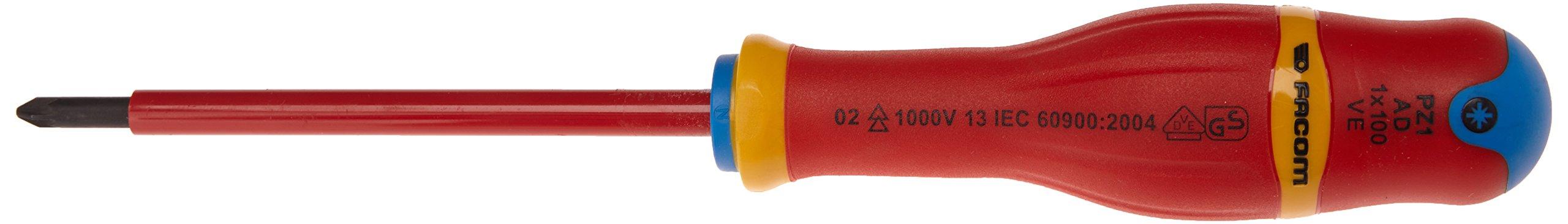 Facom SC.AD1x100VE – Destornillador Pozidriv (tamaño: 1 x 100 mm), color negro