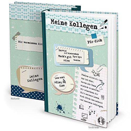XXL Kollegenbuch DIN A4 grün blau Buch zum Einschreiben - Abschiedsgeschenk Abschiedsbuch Geschenk Erinnerung an Kollegen - Ruhestand Rente Pension Abschied Jobwechsel Freundebuch Arbeit
