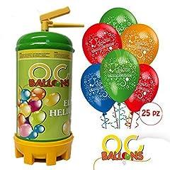 Idea Regalo - ocballoons Bombola Elio per Palloncini 1,8 LT + 25 Palloncini Compleanno Omaggio