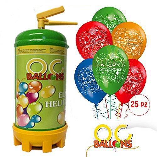 ocballoons Bombola Elio per Palloncini 1,8 LT + 25 Palloncini Compleanno Omaggio
