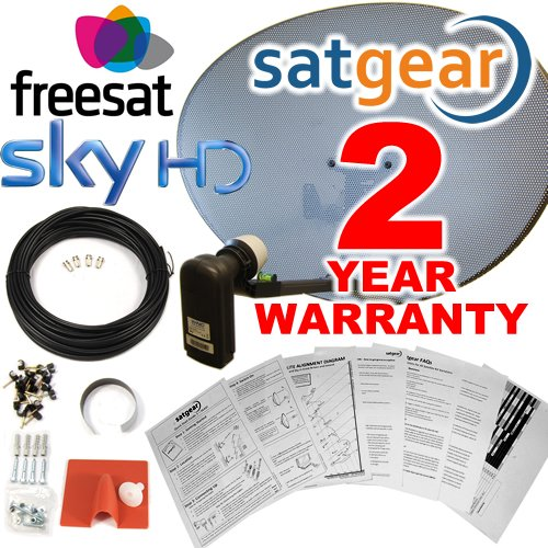 6143T9sU bL - BEST BUY #1 Satgear Sky/Freesat Zone 2 60cm HD Satellite Dish Kit with Brackets, Quad LNB, 20m Single RG6 Cable and Fixings Reviews and price compare uk