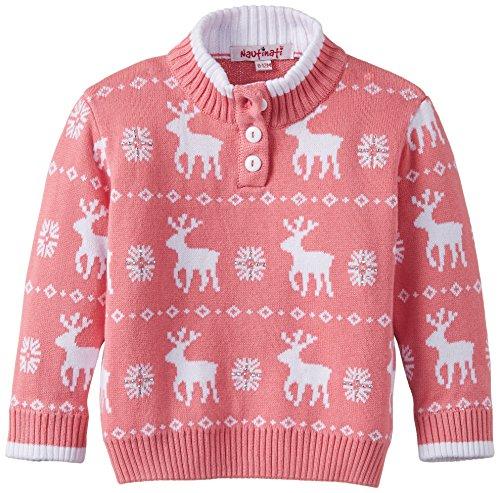 Nauti Nati Baby Girl's Sweater (NAW14-402_Pink white_0-12m)
