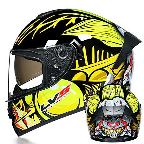 MYSdd Motorradhelm Integralhelm Dual Lens Racing Helm Offroad-Helm Sonnenschutz Endoskop Blendfrei Schnelles Be- und Entladen des Objektivschalters bei Nacht - a4 XM