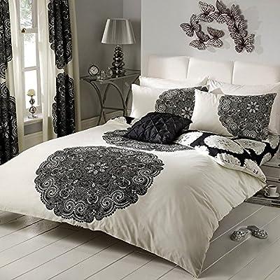 Juego de funda nórdica y funda de almohada, diseño de rayas y floral