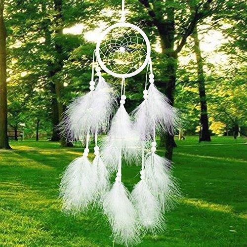 Traumfänger handgefertigte traditionelle weiße Feder Windspiel Wandbehang Dekoration