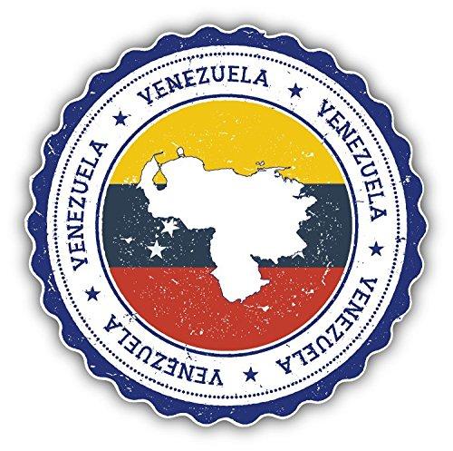 Bandiera Venezuela Grunge mappa del mondo timbro Art Decor adesivo paraurti 12x 12cm