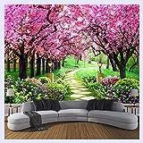 BHXINGMU Benutzerdefinierte 3D Fototapete Blume Romantische Kirschblüten Baum Kleine Straße Wandbild Tapeten Für Wohnzimmer Schlafzimmer 270Cm(H)×370Cm(W)