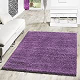 T&T Design Shaggy Teppich Hochflor Langflor Teppiche Wohnzimmer Preishammer versch. Farben, Farbe:lila, Größe:Ø 120 cm Rund