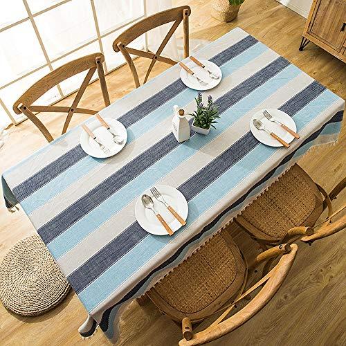 NGLSZSG Tischdecke Leinen Wasserdichte Tischdecke Blau Grau Gestreift Quaste Spitze Geometrische Rechteckige Tisch Couchtisch Tischdecke Tischwäsche - Couchtisch Blauer