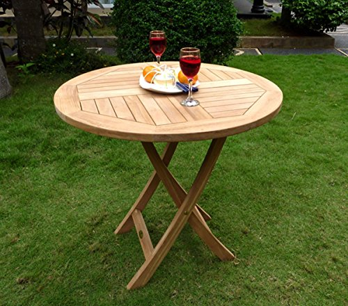 Wood-en-Stock table pliante de jardin 70 cm de diamètre teck brut