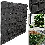 Senua Fabric Pocket Balcony Herbs Vertical Garden Wall Hanging Planter Bag (black 72 pot)