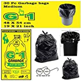 G-1 Medium:19 Inch X 21 Inch | 4 Packs Of 30 Pcs - 120 Pcs | Disposable Garbage Trash Waste Dustbin Covers & Bags - Black