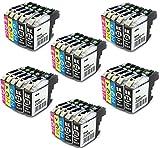 30x Tinte Patronen Druckerpatronen für Brother DCP-J552DW MFC-J470DW MFC-J650DW MFC-J870DW DCP-J132W DCP-J152W DCP-J172W DCP-J752DW DCP-J4110DW MFC-J245 MFC-J4410DW MFC-J4510DW MFC-J4610DW MFC-J4710DW MFC-J6520DW MFC-J6720DW MFC-J6920DW kompatibel zu BROTHER LC123BK LC123C LC123M LC123Y