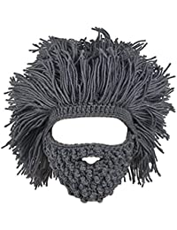 MagiDeal Cappello A Barba Cappellino Maglia Mano Inverno Maschera Ski  Beanie Berretti per Bambini e Adulto ca9c95c7f94f