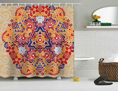 Bedruckte Vorhang für die Dusche Standard Größe mit rostfreien Ösen. 100% wasserdicht Polyester Stoff, 65x 183cm. Design: Indisches Mandala Print Design ref: 1160