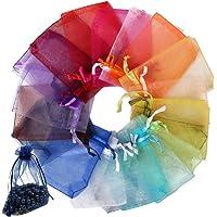 FLOFIA 100pz Sacchetti Organza 7x9cm per Regalo Gioielli Confetti 20 Colori Sacchettini Piccoli con Coulisse per…