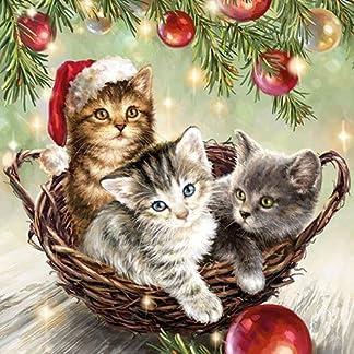 4 servilletas de papel para decoupage – 3 capas, 33 x 33 cm – Navidad – gatos en cesta (4 servilletas individuales para manualidades y arte de servilletas)