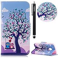 HUDDU Bunt Muster Handyhülle Schutzhülle für Motorola Moto G5 Plus Hülle Loved Eulen Blumen Slim Flip Leder Tasche... preisvergleich bei billige-tabletten.eu