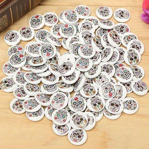 100 unidades de botones de costura con diseño de calavera de...
