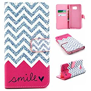Uming® Pattern Print Muster Druck PU Kasten Case Hülle Fall [ for Samsung Galaxy S3 I9300 S3Neo ] Colorful Printing Drawing Bunte Zeichnung Druck Patterns Flip Holster mit Ständer Stander Halter Hand Free Kreditkarte Credit Card Slot Loch Haspe Magnet Magnetic Button Buckle Shell Schutz Mobile-Handy Tasche Bag - Pink wave