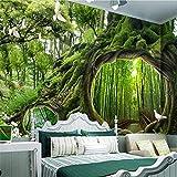 YUANLINGWEI Benutzerdefinierte Wandbild Tapete Große Hochwertige 3D-Tapete Magische Wald Baum Loch Café Kinderzimmer Hintergrund Tapete Für Wände,250cm (H) X 330cm (W)