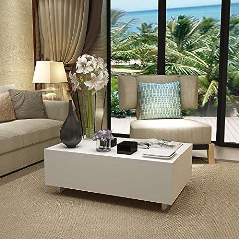 Anaelle Pandamoto Table Basse en MDF Rectangulaire Moderne sur Salon, Bureau et Chambre, Taille: 85 x 55 x 31 cm, Poids: 17kg, Blanc
