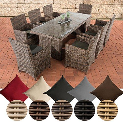 CLP Poly-Rattan Sitzgruppe FONTANA XL (8 Stühle + Tisch 200 x 90 cm), Premiumqualität: 5 mm RUND-Geflecht Bezug: Anthrazit, Rattan Farbe braun-meliert