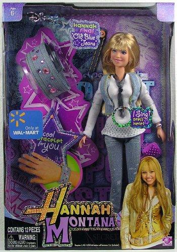 Hannah Montana - Disney - Wal-Mart Exclusive - Deluxe Singing Doll - HANNAH MONTANA - singt 'Old Blue Jeans' - im Coolen Jeans Outfit - incl. Jeans Armband mit Deko-Steinen für Dich - Fashion Doll / Puppe ca. 30cm - OVP (Spielzeug Coole Walmart Bei)