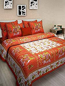 Generic100%Orange Cotton Double Bed Sheets with 2 Pillows Covers