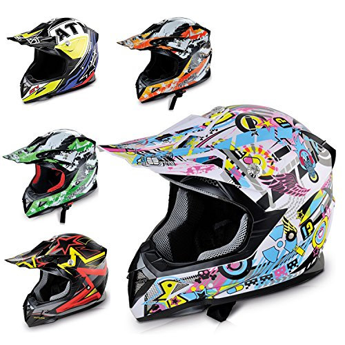 HECHT Motocrosshelm 51915 Motorrad-Helm Enduro ABS Quadhelm (L (59 - 60 cm), hellblau / rosa / gelb)