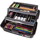 ArtBin Portable Art & Craft Organizer with Lift-Up Trays [1] Plastic Storage Case Gray/Black, Multi-Colour, Two