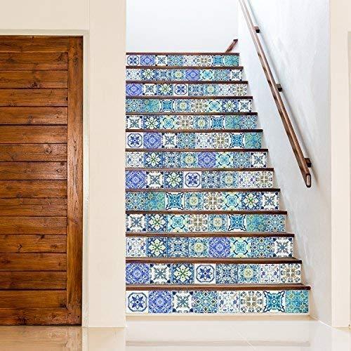 Walplus adesivi da parete rimovibile autoadesivo arte murale decalcomania vinile decorazione casa fai da te vivente cucina camera letto carta parati regalo mediterranean cielo classico blu mosaico