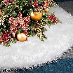 Weihnachtsbaum Rock, AMAUK 47.24inches White Faux Pelz Baum Rock Ornamente, Doppelschicht-Design für Frohe Weihnachten und Neujahr Party Ferienhaus Dekorationen