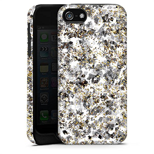 Apple iPhone X Silikon Hülle Case Schutzhülle Muster Glitzer Silber Tough Case matt