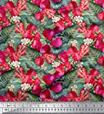 Soimoi Rosa Baumwoll-Voile Stoff Blätter, Blumen und