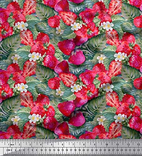 Soimoi Rosa Baumwolljersey Stoff Blätter, Blumen und Erdbeeren Obst Stoff Meterware 58 Zoll breit