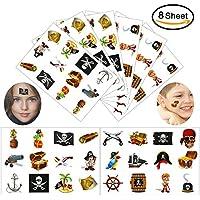 Konsait pirata Tatuajes temporales para niños, 96 piezas Pirata falso tatuaje temporal pegatinas Para chicos aventuras piñata juegos infantiles fiesta de cumpleaños regalo bolsas sorpresa