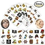 Konsait pirata Tatuajes temporales para niños, 96 piezas Pirata falso...