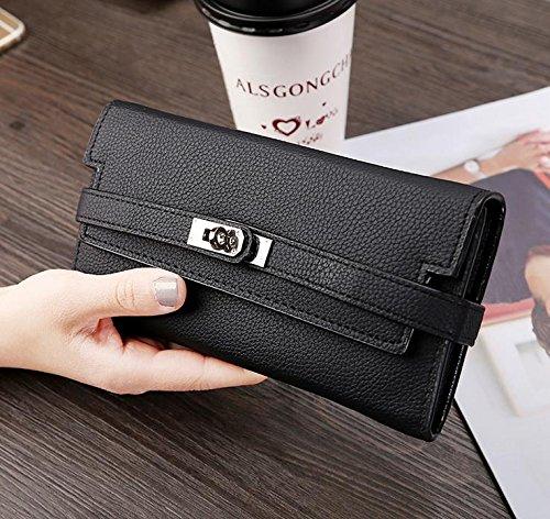 Hippolo Donna grande capacità lusso cera vera pelle Portafoglio con tasca con zip (confezioni regalo) (Pink) Black