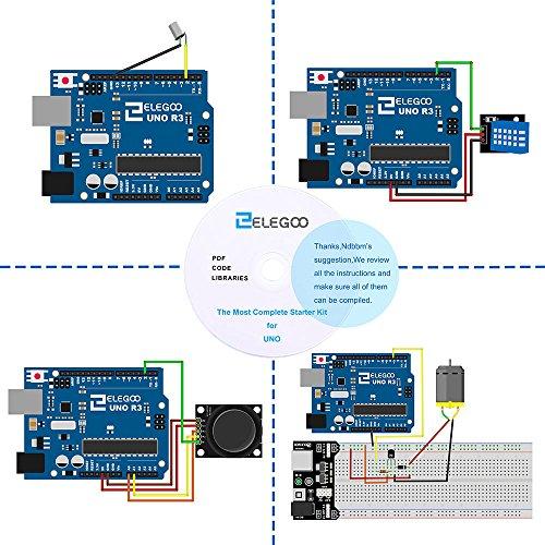 6144RY3HwwL - Elegoo Conjunto Avanzado de Iniciación a Arduino UNO con Guías Tutorial en Español y Conjunto de Arduino UNO R3, a Demás de Relé de 5V, Modulo de Fuente de Alimentación,Pantalla LCD1602, Servomotor, Motor Paso a Paso, Placa de Desarrollo de Prototipos, etc.