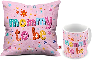 Indigifts Mommy to Be Coffee Mug and Cushion Cover with Filler 12x12 Pin Satin - Mother Mom Mummy Gift on Anniversary Baby Shower