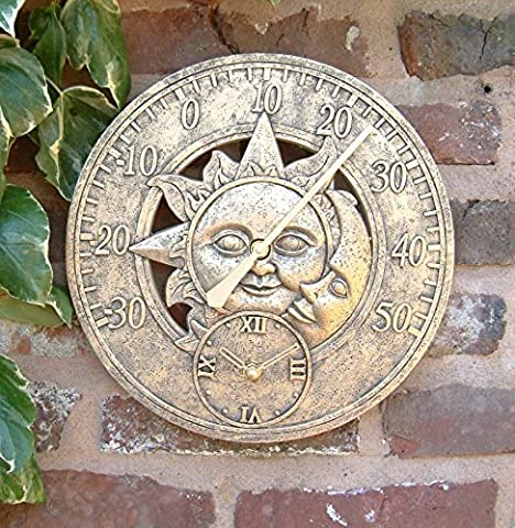 Garden Mile® Large Vintage Sun & Moon Garden Indoor/Outdoor Wall Clock Thermometer Decorative Fence Ornament Thermometer Mountable Weatherproof Weather Station Thermometer Suitable for Kitchen / Home (Bronze Sun & Moon 30cm Clock