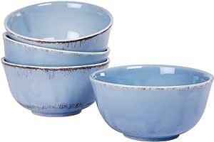 Hoteck 2er Set Gro/ß M/üslischalen aus Porzellan Keramik Schalen Dessertschale 15.5CM Blau Serie Sch/üssel Retro Geschirr Snackschale