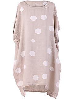 Ladies Italian Langenlook Polka Dots Spotty Cotton Top Tunic Plus Size
