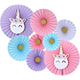 Balloonistics Unicorn Party Supplies with Paper Fan Decorations -Set of 8